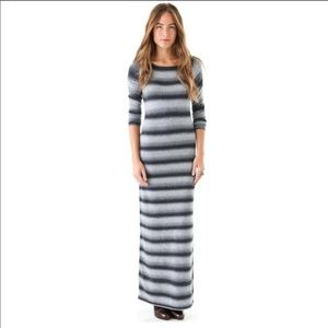 [bb dakota] gray black striped sweater maxi dress